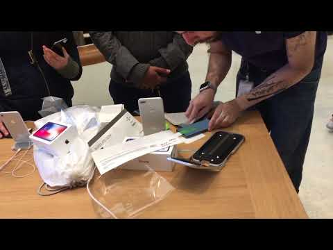 Iphone X launch apple store case fixing screen protector install