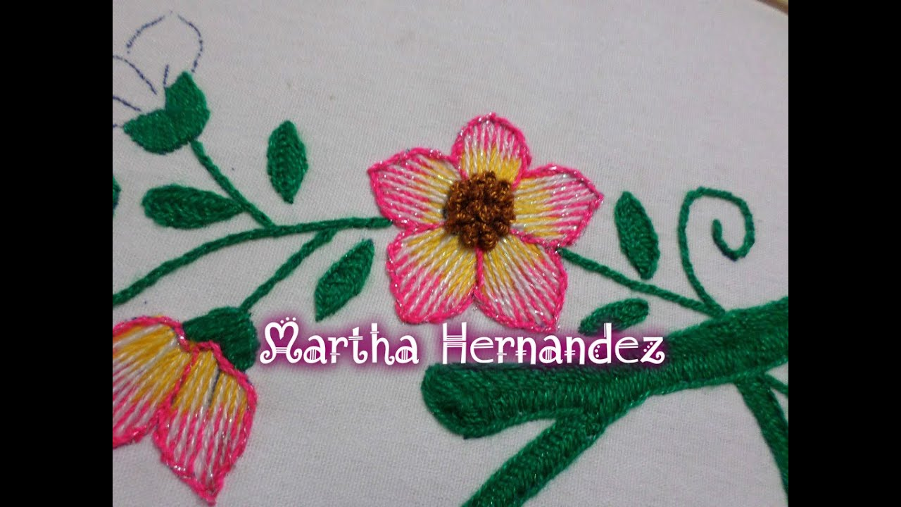 Tutorial Bordado fantasia Flor Pequeña en 3 Colores - YouTube