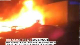 BREAKING NEWS -  SOMERSET M5 CRASH - Live Footage- Many Casualties And Fatalities.