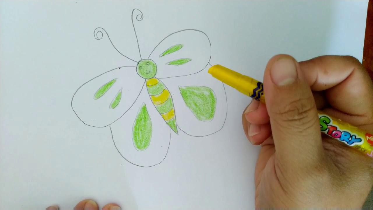 Vẽ tranh thiếu nhi: CON BƯỚM XINH || Painting for kids: HOW TO DRAW A BUTTERFLY || Nhỏ Hạnh Phúc