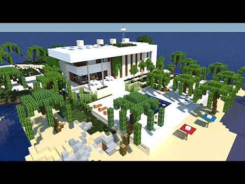 Minecraft maison moderne avec enorme terrasse youtube for Minecraft maison moderne avec xroach