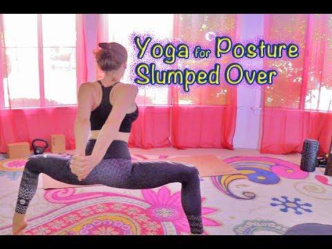 Yoga For Posture Hunched Over Shoulder Back Neck Pain Beginner Sedentary Desk Job New Moms