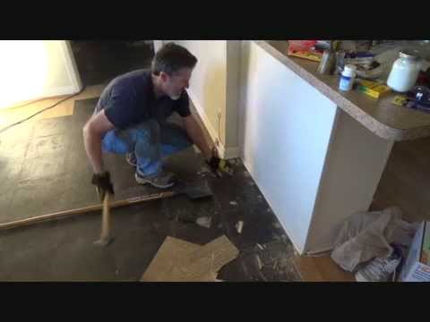 How To Remove Vinyl Floor Tiles Up Against A Wall Youtube