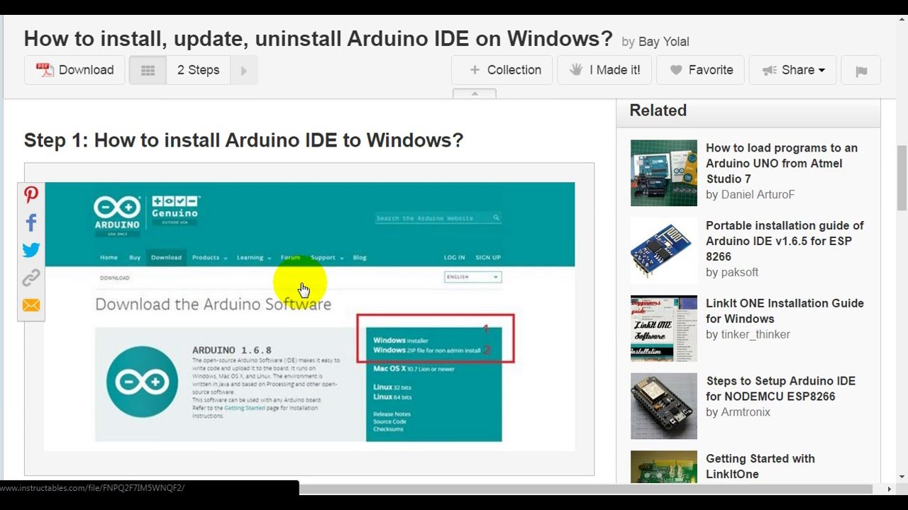 How to install, update, uninstall Arduino IDE on Windows?
