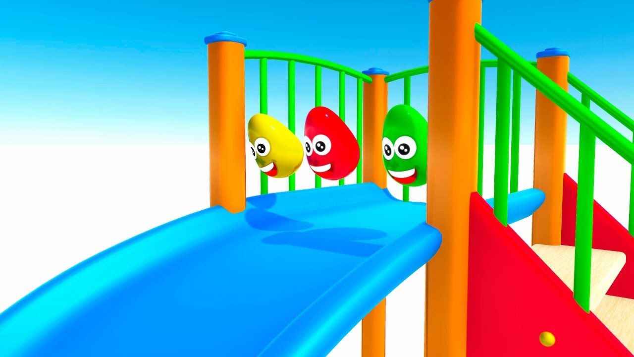 Learn Colors with surprise eggs slide for kids 3d animation