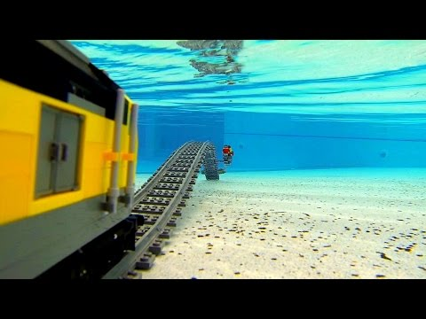 Lego train under water