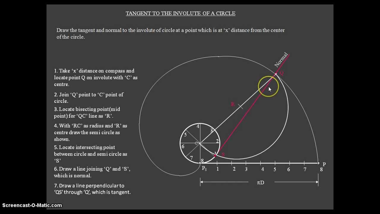 maxresdefault how to draw a tangent and normal to the involute of circle youtube