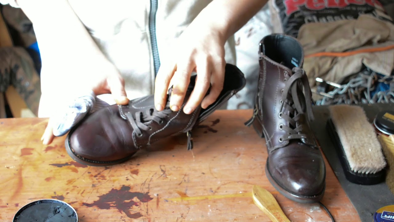 ASMR How I fix scuffs and cracks and restore mirrorshine Thursday Boots  female President model