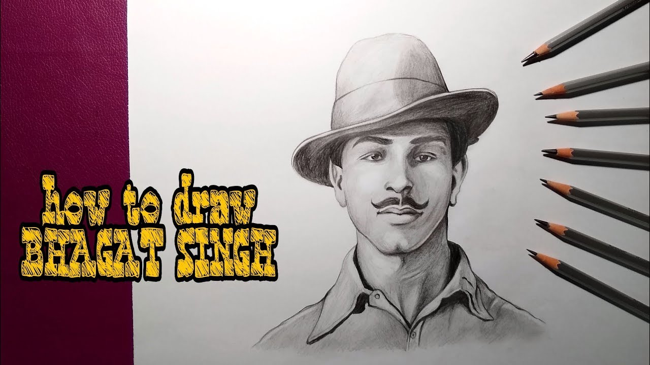 How To Draw Bhagat Singh Step By Step Freedom Fighter Drawing Youtube
