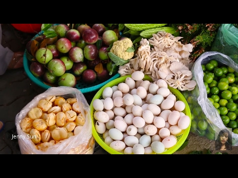 Asian Market Street Food, Natural Living In Cambodian Market, Country Food In My Village