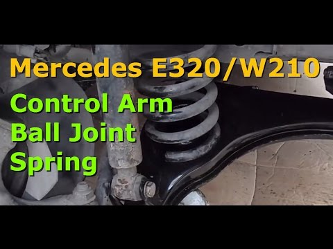 How to replace the lower control arm, ball joint and spring on a Mercedes E320 W210 W124 series.