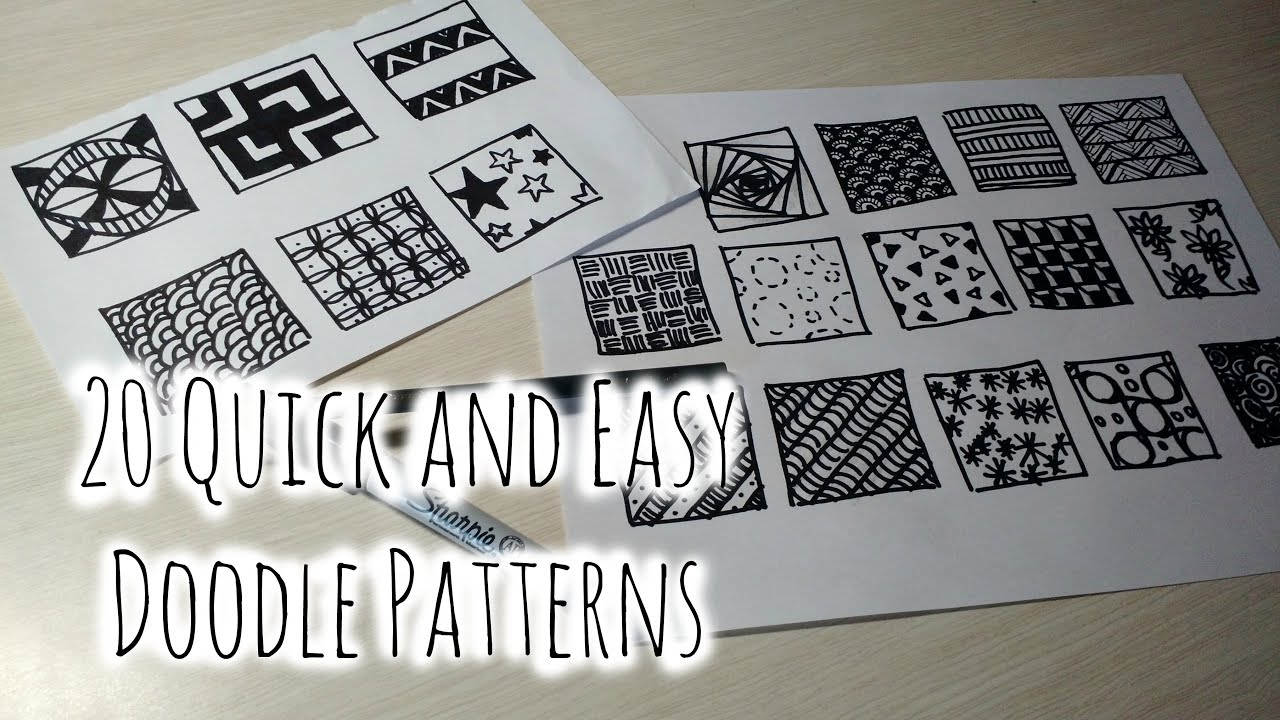 20 quick and easy doodle patterns youtube for Simple doodle designs with names
