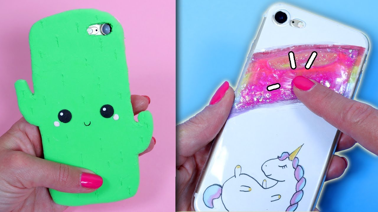 Diy 4 Easy And Cute Phone Case Ideas Unicorn Cactus Teddy Bear