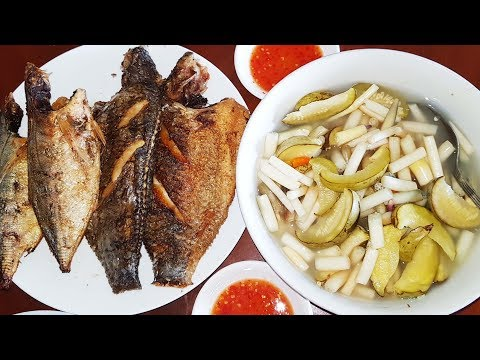 Perfectly Crispy Fried Fish Eaten With Pickled Lotus Roots And Young Water Melons - BEST MEAL EVER