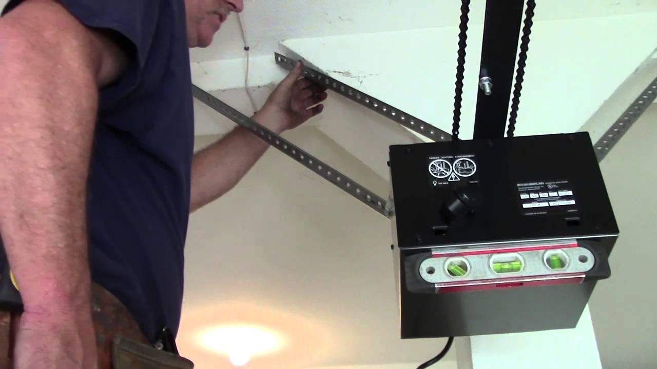 Garage door opener install on a 1 pc doorstart to finish youtube rubansaba