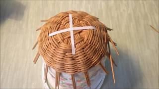 Плетение самовара из газетных трубочек. Урок 1-3.  Плетение донышка и начало стенок.