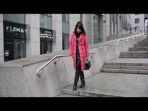 Красная клетка, пальто-пуховик