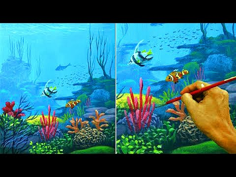 Acrylic Seascape Painting Tutorial | Underwater Corals and Fishes by JM Lisondra