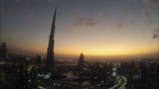 Time lapse sunrise over the Burj Khalifa