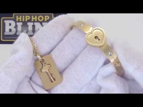 Gold Heart Bangle with Key Dogtag Necklace | Womens Fashion