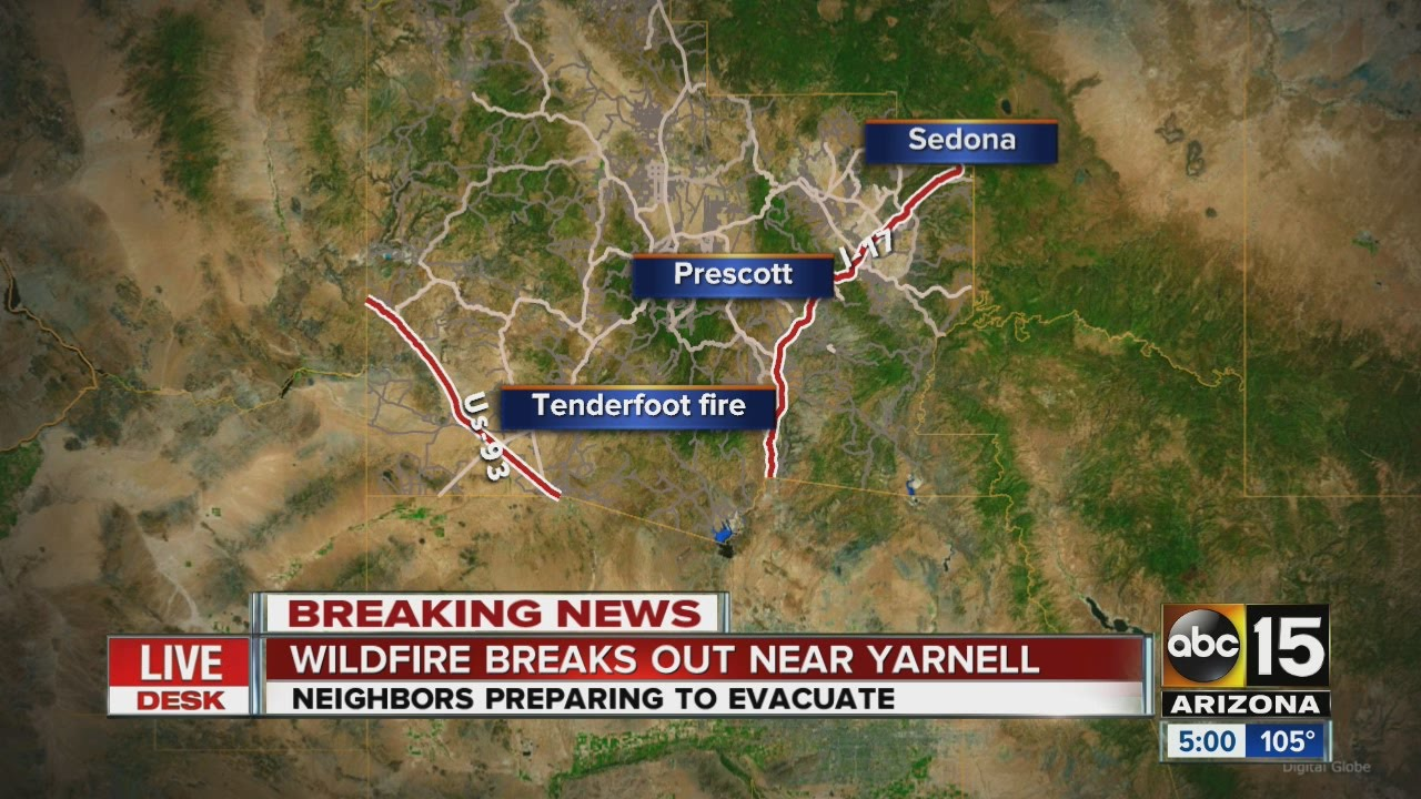 Yarnell Arizona Map.Tenderfoot Fire Burning Near Yarnell Structures Threatened Youtube