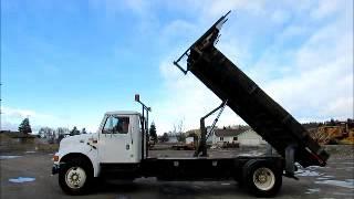 Sold! International 4900 16' Flatbed Truck Hydraulic Dump PTO bidadoo.com