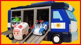 變形警車波力 珀利 poli 玩具卡車車庫和汽車跑道