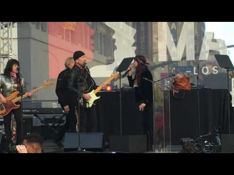 """Women's March Los Angeles U2 's The Edge, Juliette Lewis, """"Pride (In The Name Of Love)"""""""