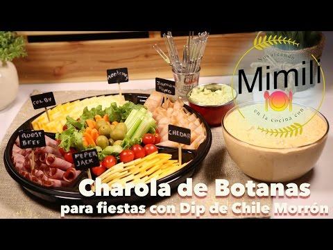 Bandeja de Botanas para Fiestas con Dip de Chile Morron - Novateando en la Cocina - Receta Facil