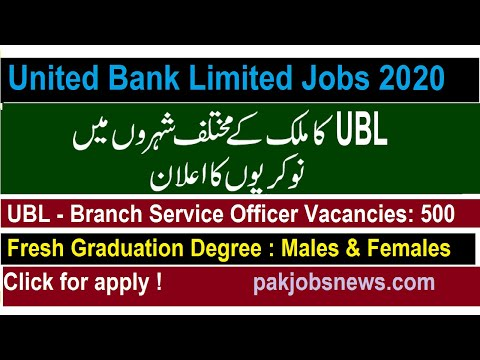 Online Apply For UBL Banks Jobs | Branch Service Officer UBL BSO Jobs 2020