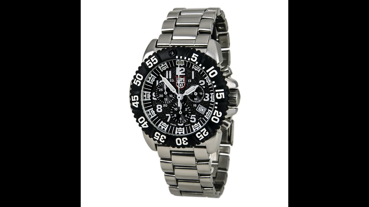 Luminox 3182 men 39 s black dial stainless steel bracelet - Luminox dive watch ...
