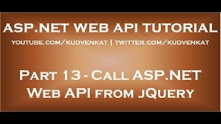Call ASP NET Web API from jQuery