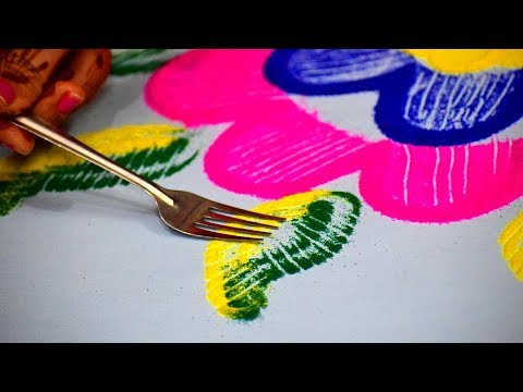 Rangoli for diwali | Easy unique rangoli using simple tools | diwali special Rangoli