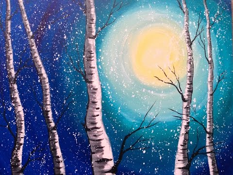 Beginner Acrylic Painting Class  Birch Trees  #lovewinterart