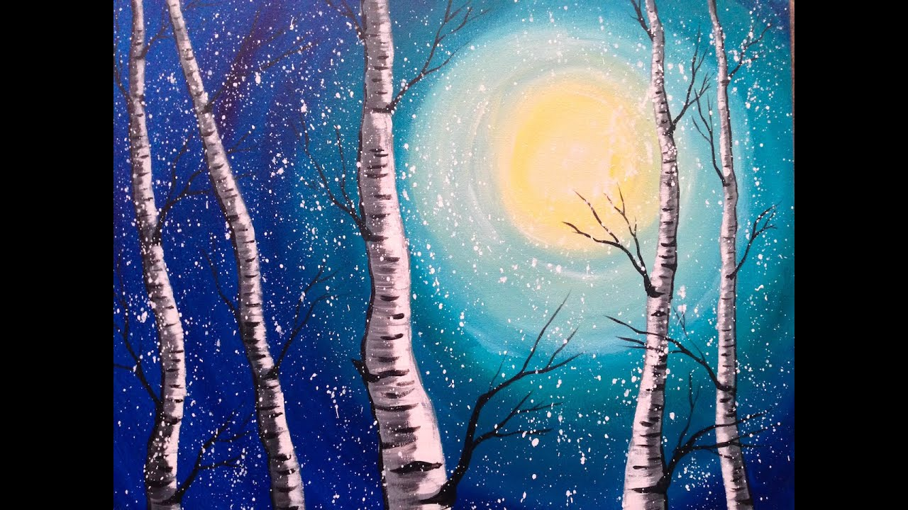beginner acrylic painting class birch trees lovewinterart