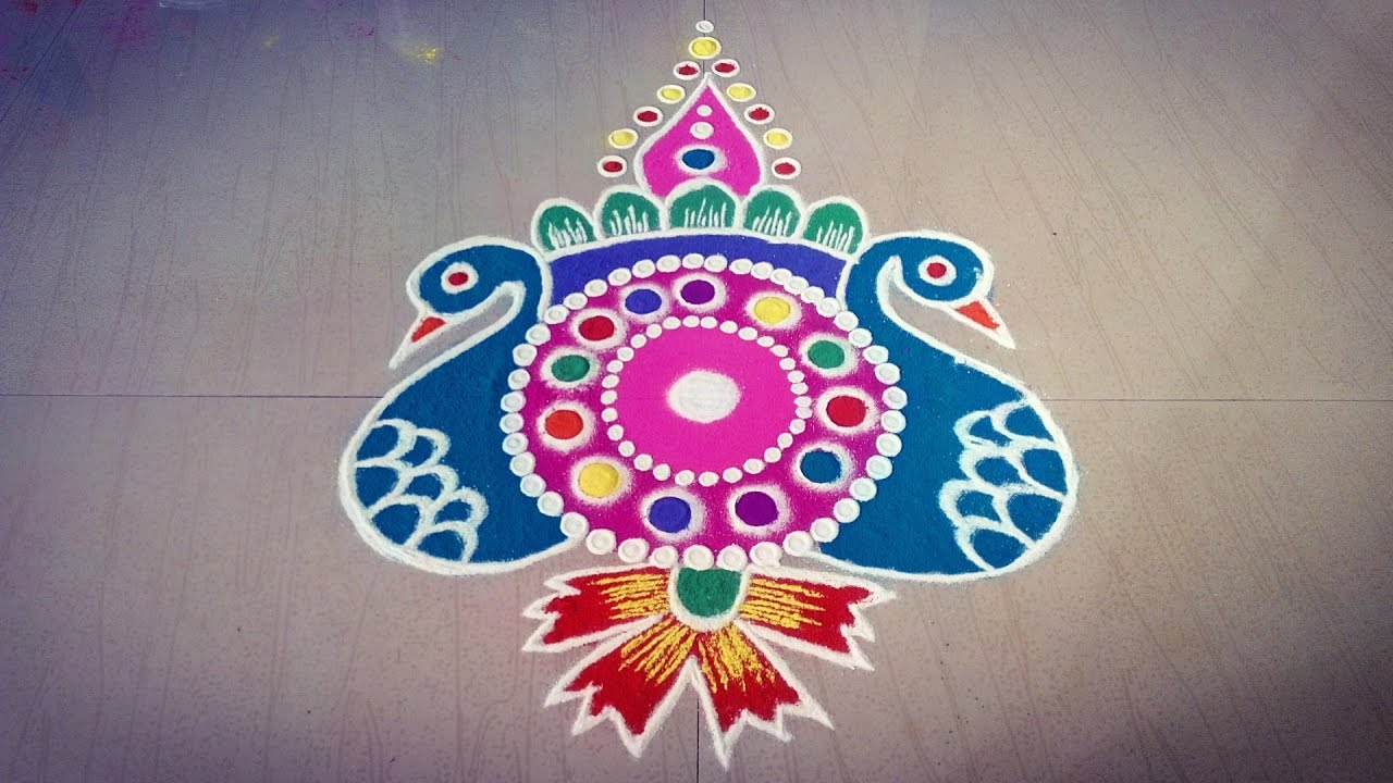 Easy Peacock Rangoli Design || Freehand Peacock Rangoli Design - YouTube for peacock rangoli designs for diwali free hand  150ifm
