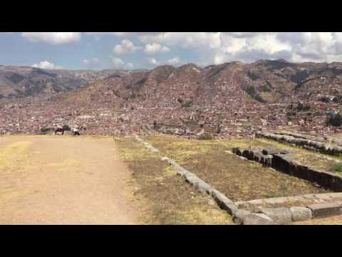 Cuzco city view from ancient Inca ruin