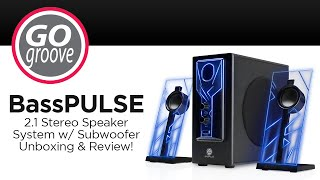 GOgroove BassPULSE 2.1 Stereo Speaker System w/ Subwoofer Unboxing & Review!