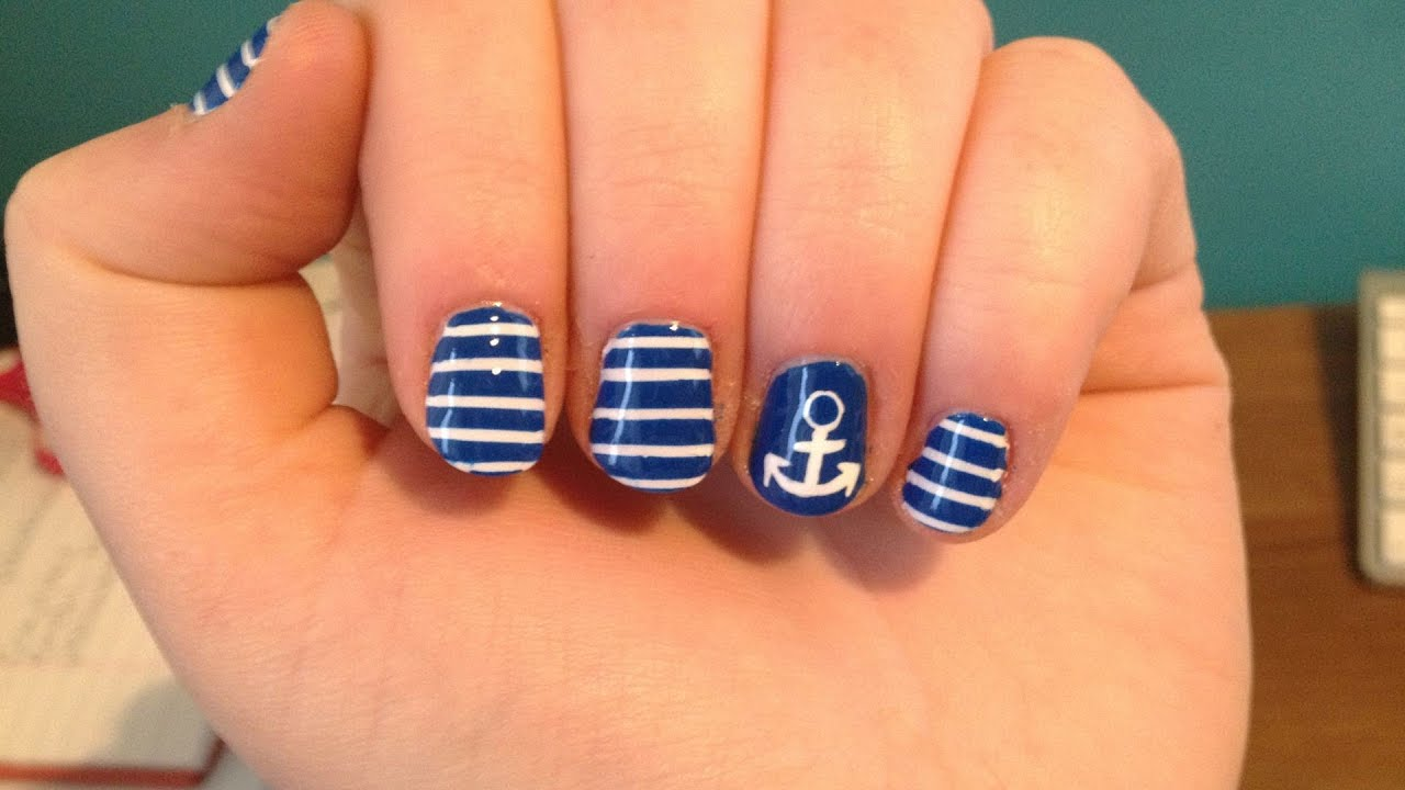 Anchor stripes nail art youtube prinsesfo Gallery