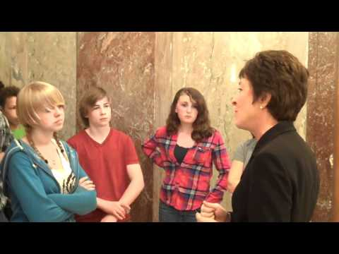 Senator Collins Speaks with 8th Grade Students from South Bristol Elementary School
