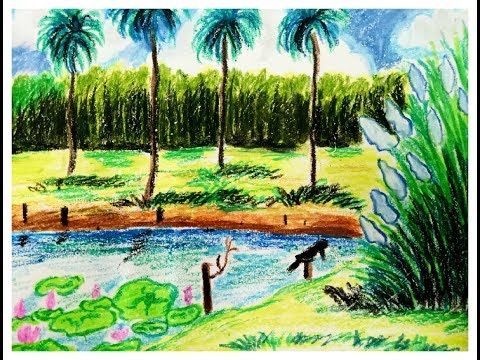 Landscape drawing for beginners with oil pastels step by step