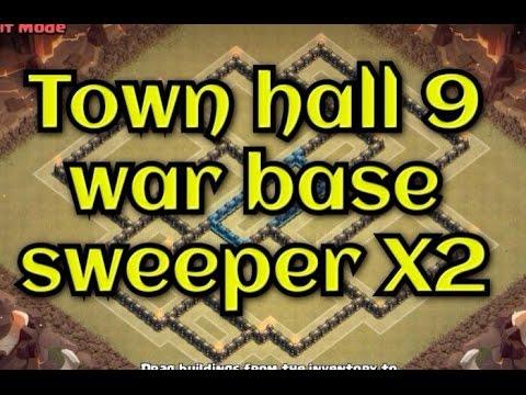 Update 2 air sweeper town hall 9 th9 war base anti 2 stars youtube