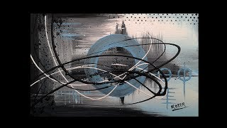 Abstract acrylic painting Demo Video - Blue sun by Roxer Vidal