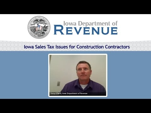 Iowa Sales Tax Issues for Construction Contractors, with Terry O'Neill