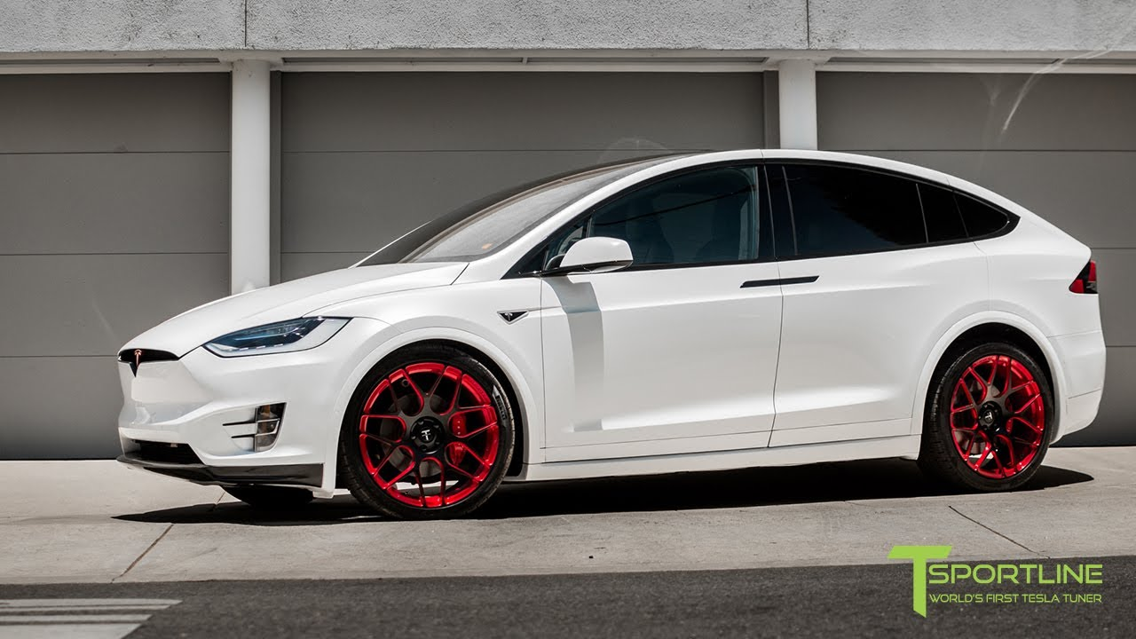 Tesla Model X P90d Pearl White 22 Inch Forged Wheels Full Carbon