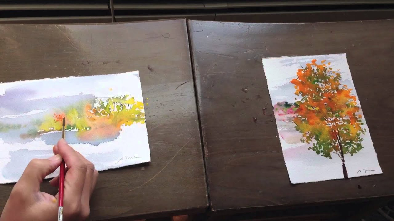How To Watercolor Mini Paintings Fall Scape 2013