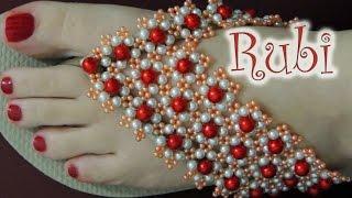 Chinelo decorado – Manta de flores de pérolas