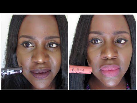 NYX Abu Dhabi (SMLC09) Soft Matte Lip Cream with MAC ...  Nyx Matte Lipstick Sierra Dark Skin