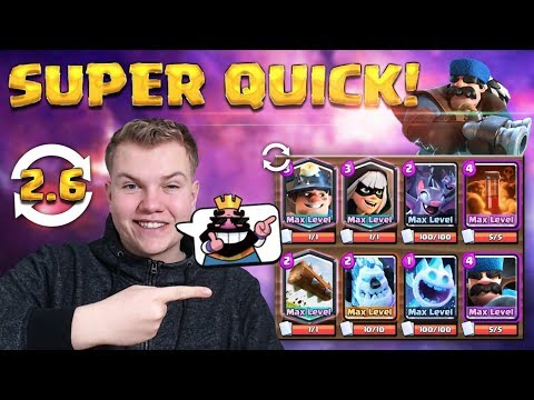SUPER QUICK! 2.6 Cycle Miner Hunter Control Deck LIVE Grand Challenge Gameplay - Clash Royale