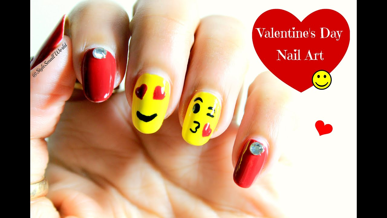 Emoji Nail Art | Valentine\'s Day Nail Art design tutorial - YouTube